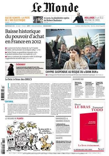 Le Monde Jeudi 28 Mars 2013