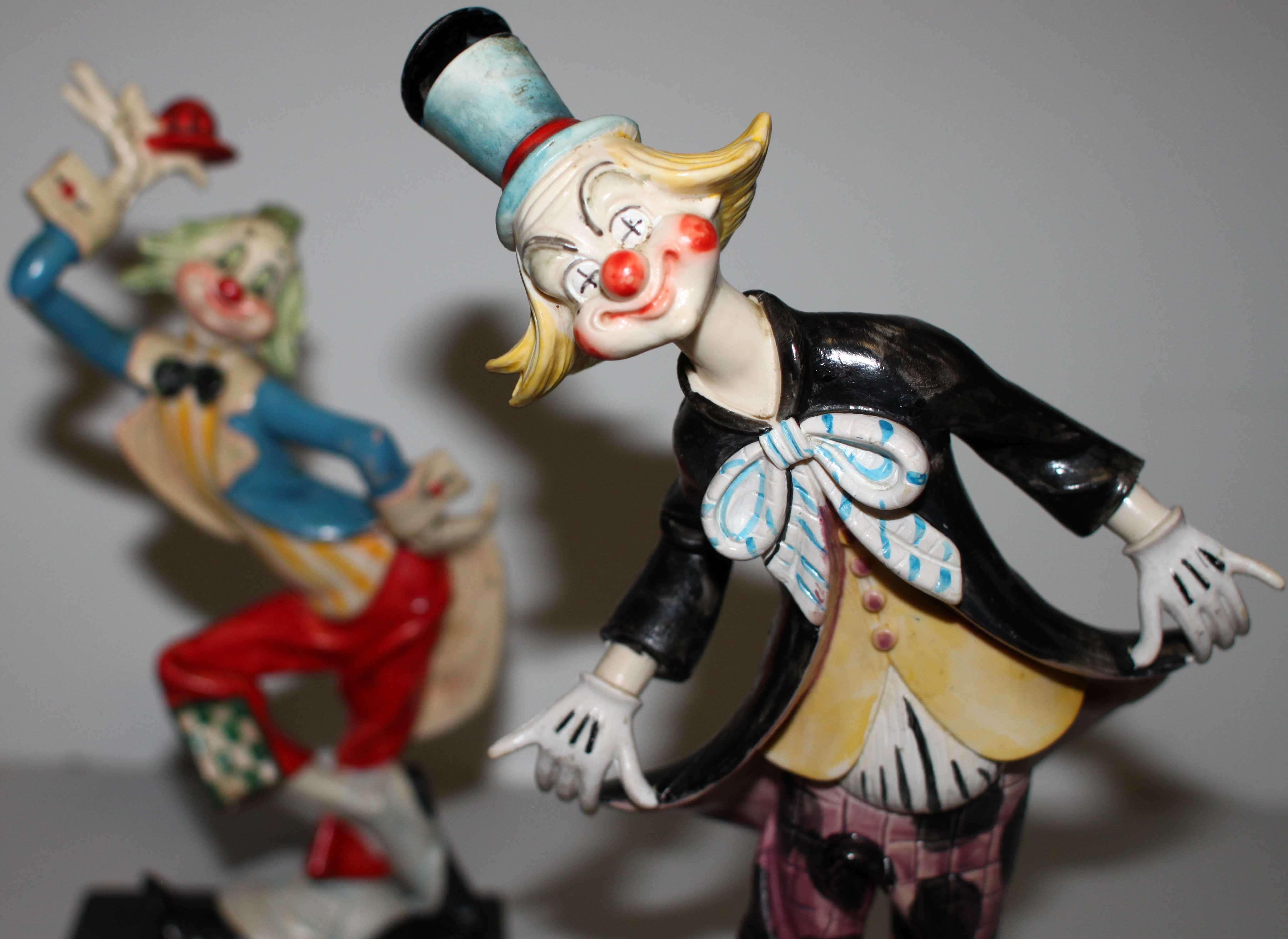 Vintage Depose Circus Clown Figurines Genuine Carrara